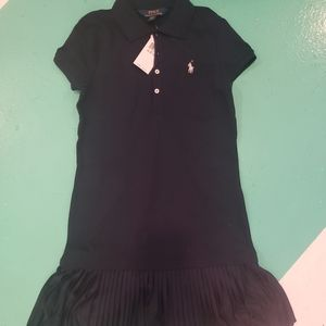 Polo pique dress with pleated dress
